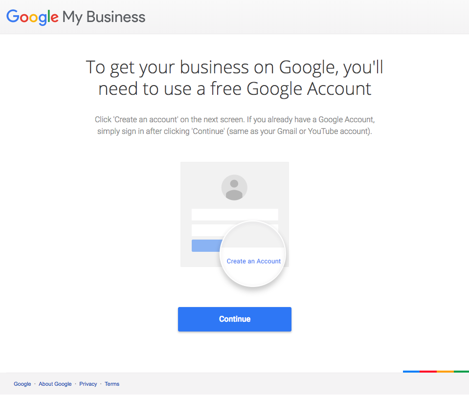 Google My Business account creation page | Dear BV: How Do I Get a Google My Business Listing for My Private Practice? | Brighter Vision | Marketing Blog for Therapists