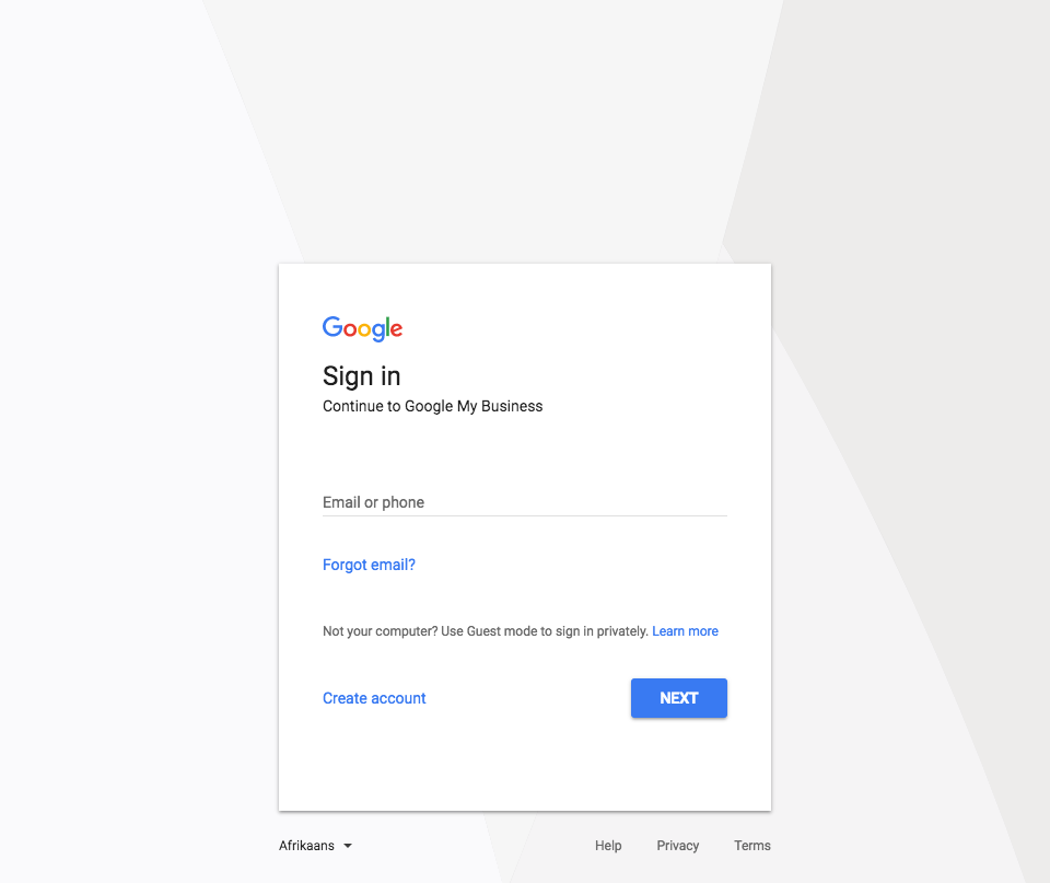Google sign in page | Dear BV: How Do I Get a Google My Business Listing for My Private Practice? | Brighter Vision | Marketing Blog for Therapists