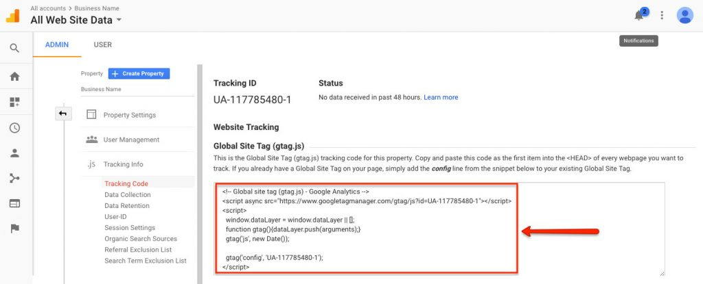 Google Analytics Global Site Tag for website tracking screenshot   How to Get Google Analytics on Your Brighter Vision Website   Marketing Blog for Therapists